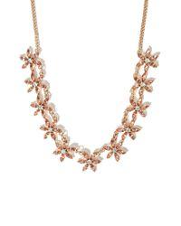 Forever 21 - Orange Rhinestoned Floral Statement Necklace - Lyst