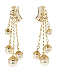 Rebecca Minkoff | Metallic Gold-Plated Faux Pearl Chain Earrings | Lyst