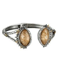 Alexis Bittar | Metallic Crystal Studded Spur Trimmed Hinge W/ Custom Picture Jasper Doublets Bracelet | Lyst