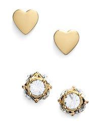 kate spade new york - Metallic 'north Court' Heart & Square Stud Earrings - Lyst