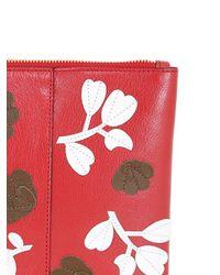 Marni Red Floral Envelope Clutch