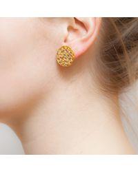 Kastur Jewels | Metallic Crystal Slice Round Stud Earrings | Lyst