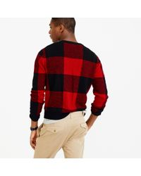J.Crew | Red Lambswool Buffalo Plaid Sweater for Men | Lyst