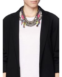 Venna | Multicolor Fur Trim Crystal And Threadwork Necklace | Lyst