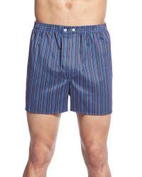 Derek Rose | Blue 'wellington' Classic Fit Stripe Boxers for Men | Lyst