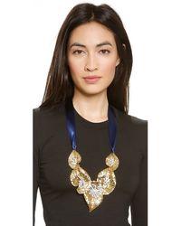 Ben-Amun Metallic Leaf Statement Crystal Necklace - Gold/Blue
