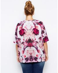 ASOS - Purple Exclusive T-Shirt In Blurred Rose Print - Lyst