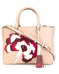 Tory Burch | Natural 'robinson' Floral Appliqué Tote | Lyst