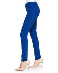 J Brand - Blue Mid-rise Sateen Skinny Pants - Lyst