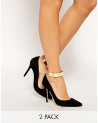 ASOS - Metallic Pack Of Two Cuff Anklets - Lyst