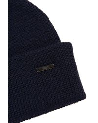 HUGO - Blue Knit Cap 'xiann' In New Wool With A Turn-up for Men - Lyst