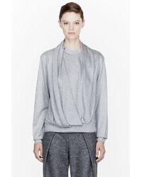 Alexander Wang Gray Heather Grey Jersey Draped Neck Sweatshirt
