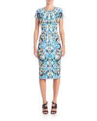 Peter Pilotto - Blue Rule Printed Sheath Dress - Lyst