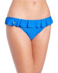 Polo Ralph Lauren | Blue Solids Ruffle Bikini Bottom | Lyst