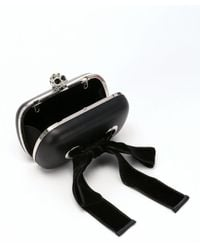 Alexander McQueen | Black Leather Skull Clasp Bow Detail Convertible Clutch | Lyst