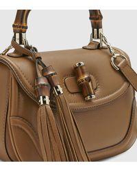 Gucci Brown New Bamboo Leather Top Handle Bag for men