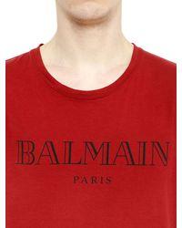 Balmain | Red Logo Printed Cotton T-shirt for Men | Lyst