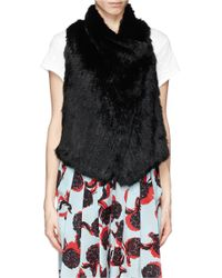 Elizabeth and James Black 'anna' Rabbit Fur Lamb Leather Stretch Gilet