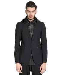 John Richmond Black Hooded Stretch Cool Wool Jacket for men