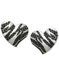 Guess | Metallic Silver-tone Black Stone Striped Heart Stud Earrings | Lyst