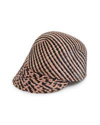 Maison Scotch - Black Stripe Straw Baseball Cap - Lyst