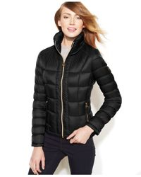 Michael Kors Black Michael Packable Quilted Down Puffer Coat