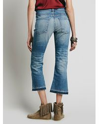 Free People - Blue Summer Of Love Crop Flare - Lyst
