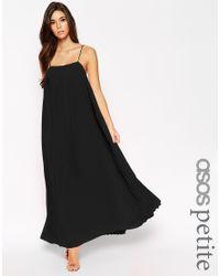 ASOS - Black Maxi Dress With Pleats - Lyst