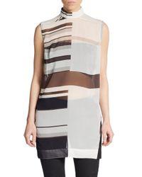 Rick Owens - Multicolor Silk Half-stripe Sleeveless Tunic - Lyst