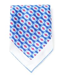 Kiton - Blue Pattern Print Handkerchief for Men - Lyst