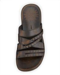 John Varvatos - Brown Tobago Stitched Slide Sandal for Men - Lyst
