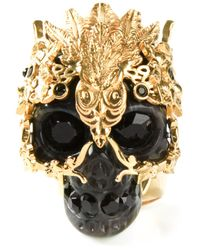 Alexander McQueen | Metallic Cherry Blossom Swarovski-Crystal Ring | Lyst
