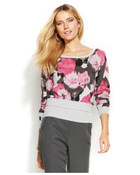 INC International Concepts - Pink Petite Printed Tiered-Hem Sweater - Lyst