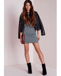 Missguided - Contrast Waistband Jacquard Mini Skirt Blue - Lyst