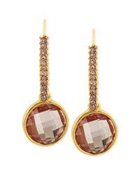 Betsey Johnson - Metallic Antique Goldtone Pink Crystal Drop Earrings - Lyst