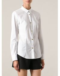 Love Moschino - White Gold-Tone Heart Shape Button Classic Shirt - Lyst