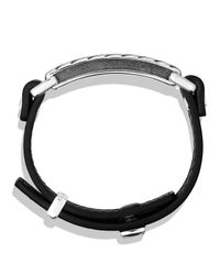 David Yurman | Metallic Modern Cable Id Bracelet In Black Leather | Lyst