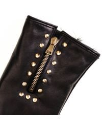 Black.co.uk Black Rabbit Lined Leather Gloves With Gold Zip And Studs