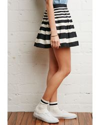 Forever 21 | Black Striped Pleated Skirt | Lyst