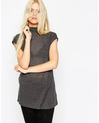 ASOS | Gray Sleeveless Longline Top With Side Split And Polo Neck In Interest Rib | Lyst