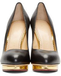 Charlotte Olympia - Black & Gold Leather Dotty Pumps - Lyst