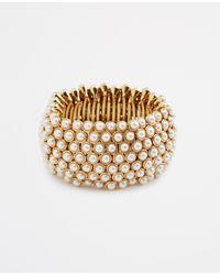 Ann Taylor - Metallic Pearlized Statement Stretch Bracelet - Lyst