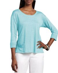 Eileen Fisher | Blue Linen Jersey Top | Lyst