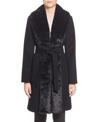 Ellen Tracy | Black Faux Fur Trim Long Wool Blend Wrap Coat | Lyst