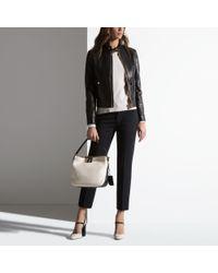 Bally Gray Leather Biker Jacket Women's Nappa Leather Jacket In Black