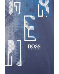 BOSS Green - Blue Modern-fit T-shirt In Cotton: 'tee 3' for Men - Lyst