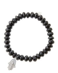 Sydney Evan - 8Mm Faceted Black Spinel Beaded Bracelet With 14K White Gold/Diamond Medium Hamsa Charm (Made To Order) - Lyst