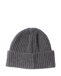 Stone Island Gray Ribbed Wool & Cashmere Blend Beanie Hat for men