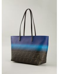 Fendi Blue Ff Logo 'Roll' Bag Tote