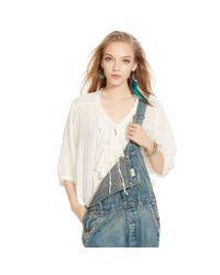 Denim & Supply Ralph Lauren | Natural Ruffled Cotton Blouse | Lyst